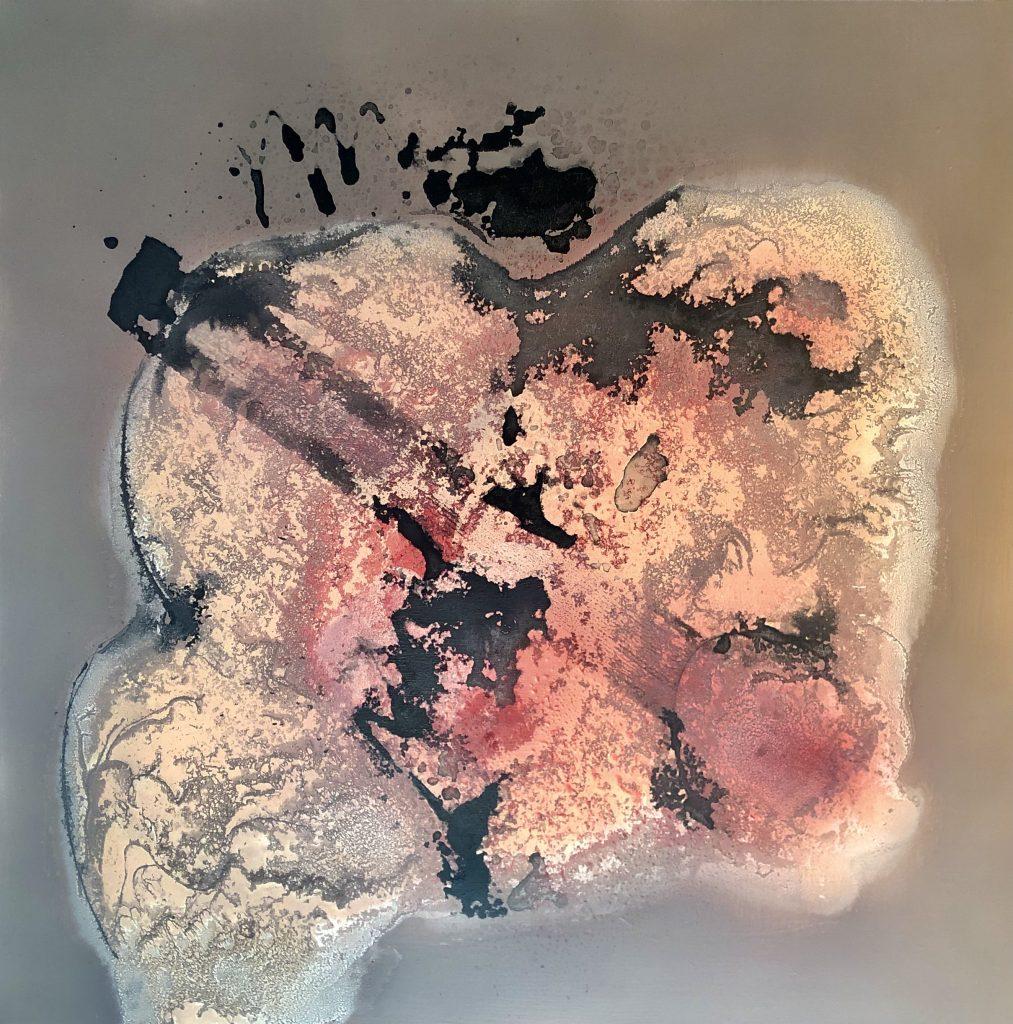 Acrylique, encres sur bois 50 x 50 cm
