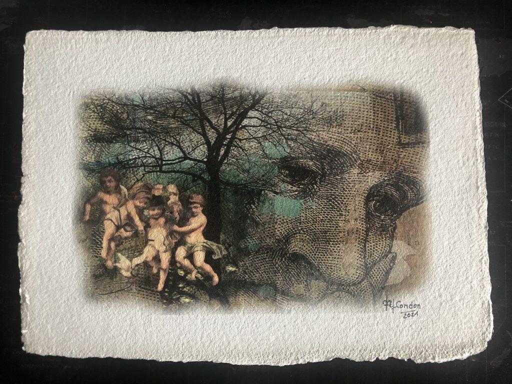composition numérique avec photoshop et Impression numérique sur papier moulin 45 x33 cm