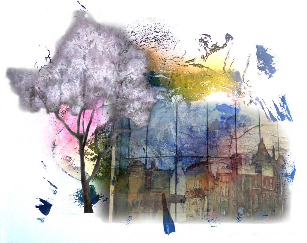 Peinture, scan, modification avec photoshop et Impression numérique sur papier aquarelle 41 x31 cm