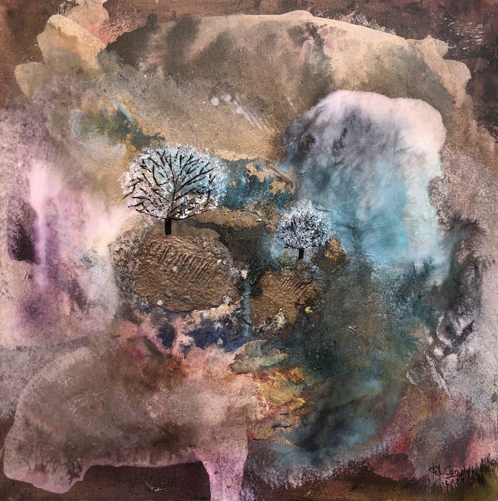 Acrylique - huile- encres techniques mixtes sur toile 50 X 50 cm