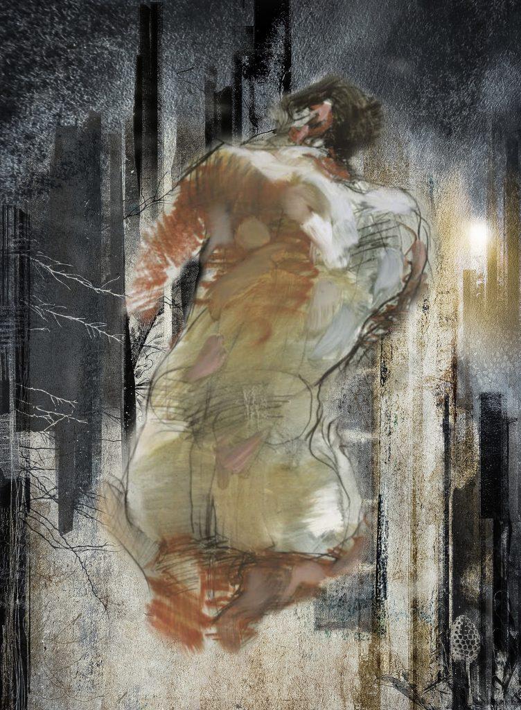 Dessin sur papier et scan. Mise en scène avec photoshop. Impression numérique sur papier 50 x 40 cm